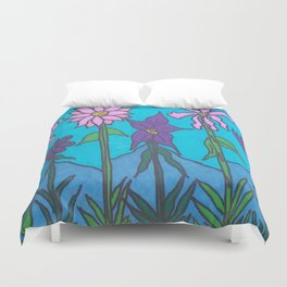 Blue Mountain Flowers Duvet Cover