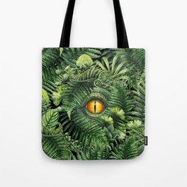 Watercolor dinosaur eye and prehistoric plants Tote Bag