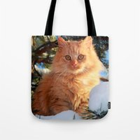 garfield Tote Bags featuring Winter Garfield  by Lucie