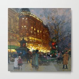 Le Grand Boulevard, Paris by Eugène Galien-Laloue Metal Print