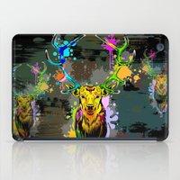 popart iPad Cases featuring Deer PopArt Dripping Paint by BluedarkArt