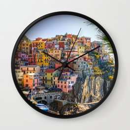 Italy Photography - Colorful Houses In Manarola Wall Clock