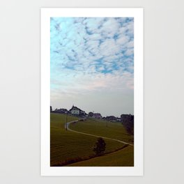Scenery with clouds, a hill and nothing particular | landscape photography Art Print
