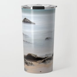 Effect of water in the sea. Long exposition. Silk Effect Rocks in the sea. Travel Mug