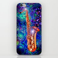 saxophone iPhone & iPod Skins featuring Saxophone by JT Digital Art