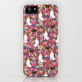 Beagle floral pattern dog breed gifts must have beagles florals pupper iPhone Case