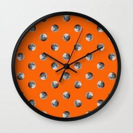 Lunar Moon - orange Wall Clock