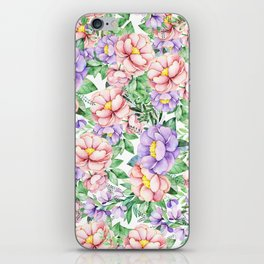Hand painted lavender coral green watercolor floral iPhone Skin