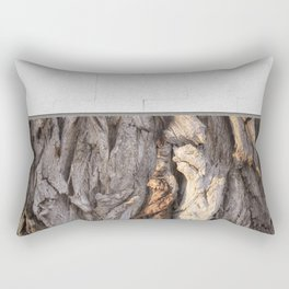 Abstract Human Figures in Gnarled Wood and White Cinder Block Rectangular Pillow