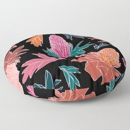 Tropical Ginger Plants in Coral + Black Floor Pillow