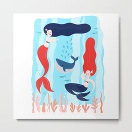 Marvelous Merry Majestic Mid Century Mermaids Metal Print