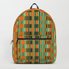 Rectangle checkered Design green Backpack