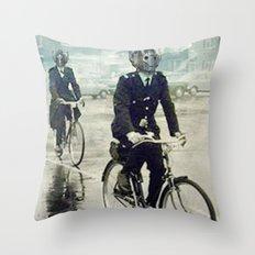 Cybermen on bikes Throw Pillow