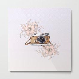 Camera & Flowers Metal Print