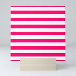 Bright Fluorescent Pink Neon and White Large Horizontal Cabana Tent Stripe Mini Art Print
