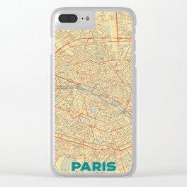 Paris Map Retro Clear iPhone Case