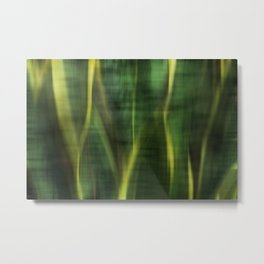 Green Palm Leaves Impression Metal Print
