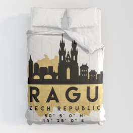 PRAGUE CZECH REPUBLIC SILHOUETTE SKYLINE MAP ART Comforters