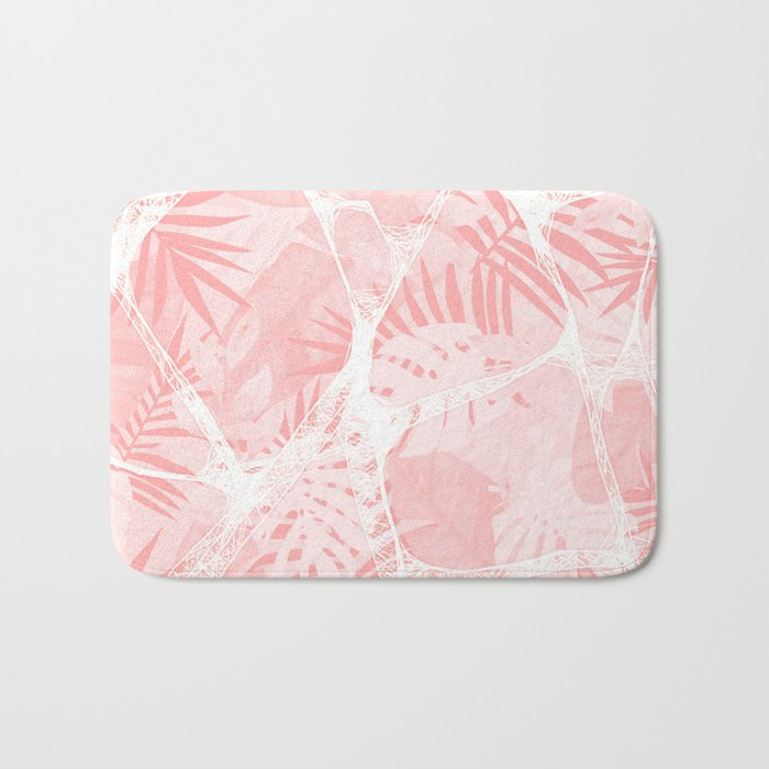 Abstract Soft Pink Tropical Design Bath Mat
