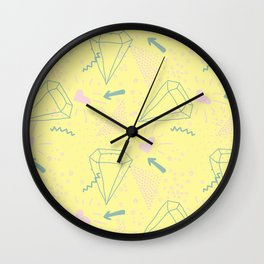 Memphis Pattern - Gemetrical  Retro Art in Yellow and Pink - Mix & Match With Simplicity Of Life Wall Clock