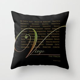 Sign Language for Virgo Throw Pillow