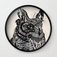 owl Wall Clocks featuring Owl by Feline Zegers
