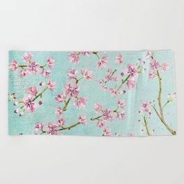 Spring Flowers - Cherry Blossom Pattern Beach Towel