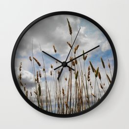 Wheat and Clouds Wall Clock