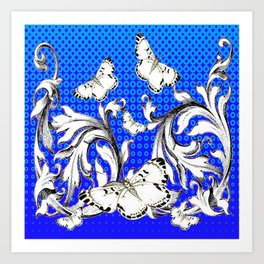 WHITE BUTTERFLIES FLUTTERING WITH BAROQUE FLORAL Art Print