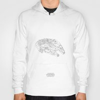 millenium falcon Hoodies featuring STARWARS Millenium Falcon continuous line by Sam Hallows
