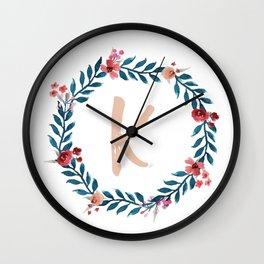 Watercolor Monogram Wreath Letter K Wall Clock