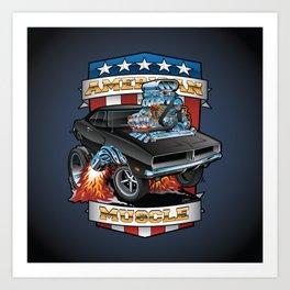 American Muscle Patriotic Classic Muscle Car Cartoon Illustration Art Print