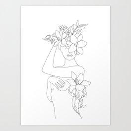 Minimal Line Art Woman with Flowers VI Art Print