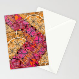 Number 155 golden yellow pink orange pattern Stationery Cards