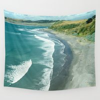 new zealand Wall Tapestries featuring Raglan beach, New Zealand by Bruce Stanfield
