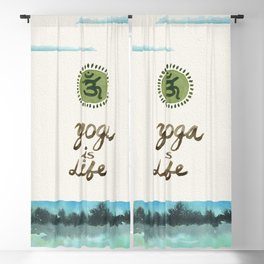 Yoga is Life - Art - Painting - Watercolor Prints - Blackout Curtain