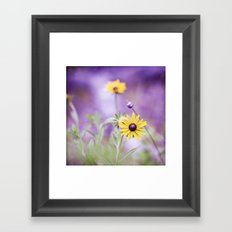 Purple Yellow Flower Photography, Violet Floral Green Nature Framed Art Print