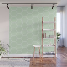 Geometric Honeycomb Pattern - Light Green #273 Wall Mural