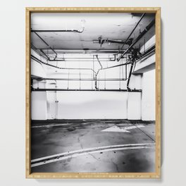 underground parking lot with tube in black and white Serving Tray