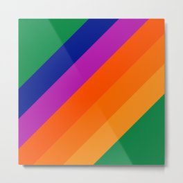 Simple Stripes - Grass Metal Print