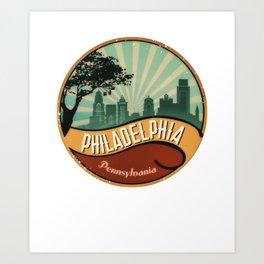 Philadelphia City Skyline Pennsylvania Retro Vintage Design Art Print