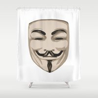 anonymous Shower Curtains featuring Anonymous mask by Komrod