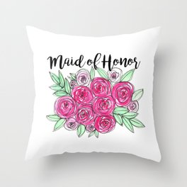 Maid of Honor Wedding Pink Roses Watercolor Throw Pillow