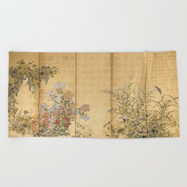 Japanese Edo Period Six-Panel Gold Leaf Screen - Spring and Autumn Flowers Beach Towel