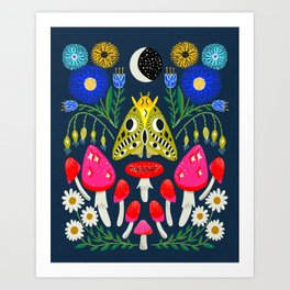 Moth Moon - moon art, witchy art, mushroom art, magic mushrooms, groovy art, daisies Art Print