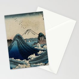 Hiroshige - 36 Views of Mount Fuji (1852) - 04: Rough Sea at Shichirigahama in Sagami Province Stationery Cards
