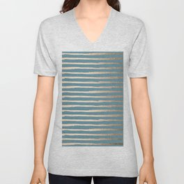 Abstract Stripes Gold Tropical Ocean Blue Unisex V-Neck