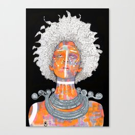 Portrait of an African Queen with white Eyes and awesome Afro Canvas Print