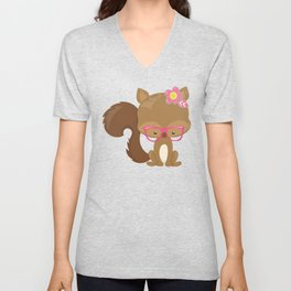 Hipster Squirrel, Squirrel With Glasses, Flowers Unisex V-Neck