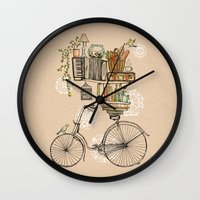wesley bird Wall Clocks featuring Pleasant Balance by florever